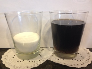(Left) 8.5 Tablespoons of sugar.  The amount of sugar in one 12 ounce cola. (Right)