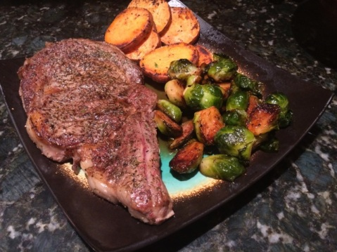 Typical Dinner of Ribeye, Brussel Sprouts, and Sweet Potatoes