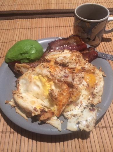Healthy way to start the morning with bacon, eggs, and avocado!