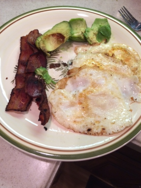 Typical Breakfast of Bacon, Eggs, and Avocado