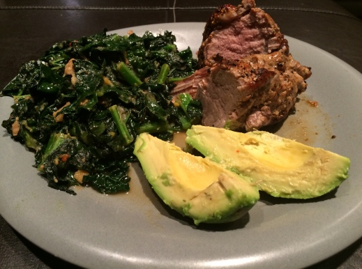 Great Paleo meal: Pork, kale, and avocado