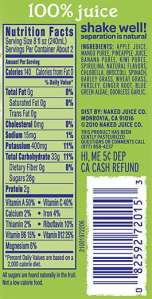 Popular beverage nutritional facts.  Notice the absence of Dietary Fiber!